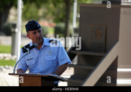 U.S. Air Force Col. Brian Hastings, the commander of the 47th Flying Training Wing, gives the keynote speech during - Stock Photo