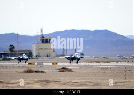 Two F-15E Strike Eagles taxi following a combat mission during the Blue Flag exercise at Uvda Air Force Base, Israel, - Stock Photo