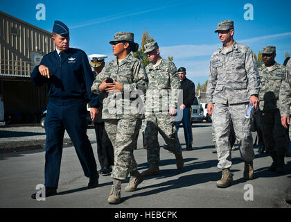 Col. Shirlene Ostrov, 376th Expeditionary Mission Support Group commander, provides a tour to Gen. William M. Fraser - Stock Photo