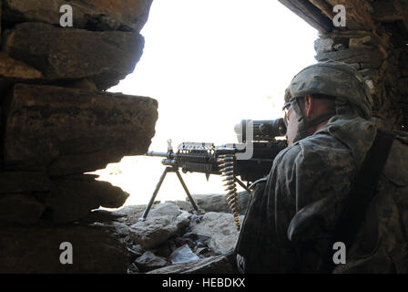 U.S. Army Pfc. Samuel Collins of Clarkston, Va., assigned to Battle Company, 2nd Battalion, 503rd Airborne Infantry - Stock Photo