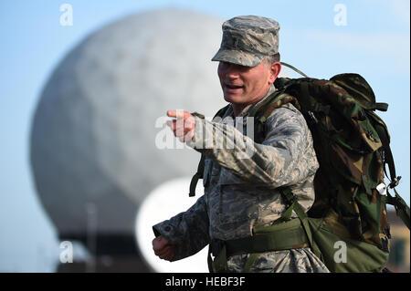 Chaplain (Maj.) Jack Stanley, 422nd Air Base Group chaplain, motivates fellow Airmen during a National Police Week - Stock Photo