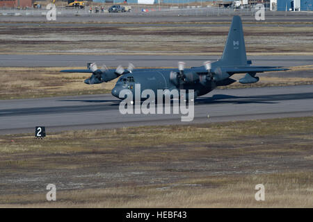 A Royal Canadian Air Force CC-130 Hercules from the 435 Transport and Rescue Squadron takes off during from 5 Wing - Stock Photo