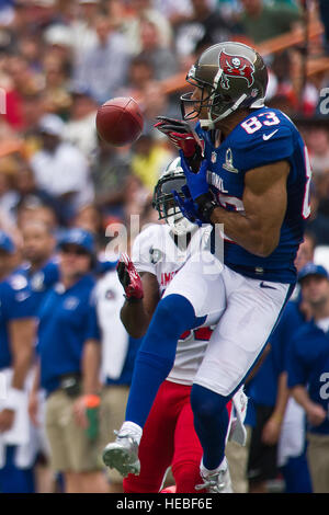 Tampa Bay Buccaneer wide receiver, Vincent Jackson attempts to receive a pass during the first quarter of the 2013 - Stock Photo