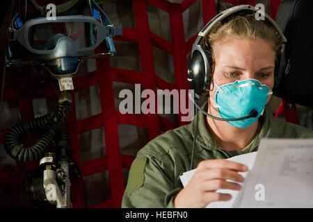 U.S. Air Force Tech. Sgt. Desiree Matlock, an aeromedical evacuation technician with the 452nd Aeromedical Evacuation - Stock Photo