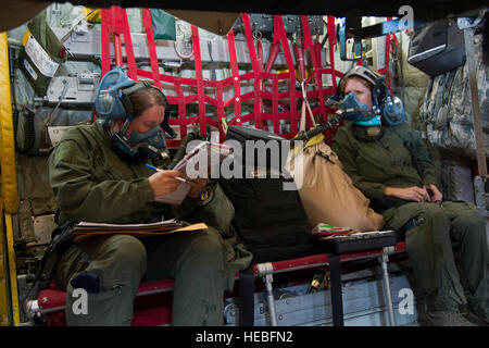 U.S. Air Force Senior Airman Joy Albury, an aeromedical evacuation technician with the 45th Aeromedical Evacuation - Stock Photo