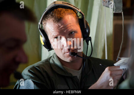U.S. Air Force Staff. Sgt. Christopher Peters an aeromedical evacuation technician 46th Aeromedical Evacuation Squadron - Stock Photo