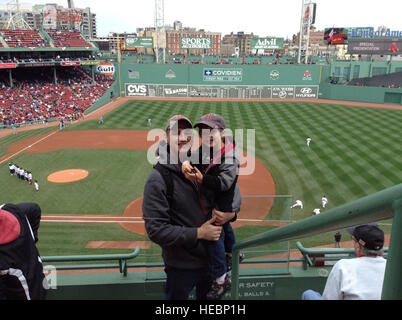 Capt. Garrett Miller and his son, Jacoby, had their photo taken April 15, 2013, during a Red Sox game at Fenway - Stock Photo