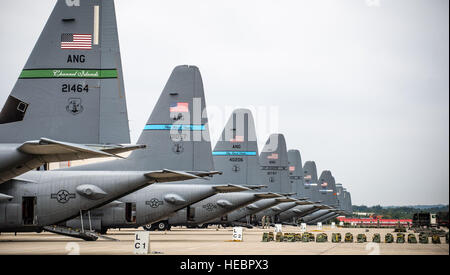 C-130s from Ramstein and the Air National Guard wait on the Ramstein Air Base flightline, Germany, Sept. 3, 2014, - Stock Photo