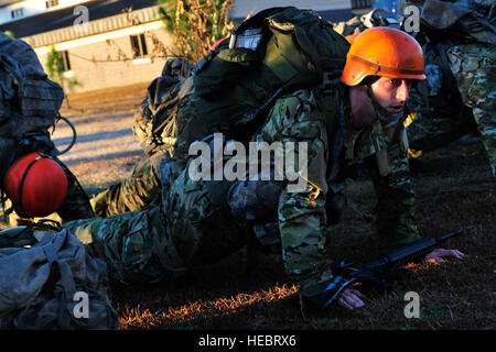 U.S. Air Force Tactical Air Control Party candidates spend some time in the forward leaning rest position for not - Stock Photo