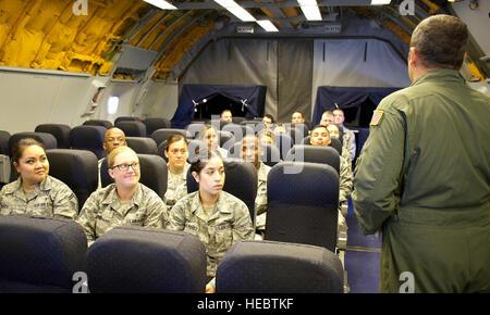 Tech. Sgt. Brandon Heyman briefs aircraft safety procedures before the takeoff of a KC-10 Extender June 6, at Travis - Stock Photo