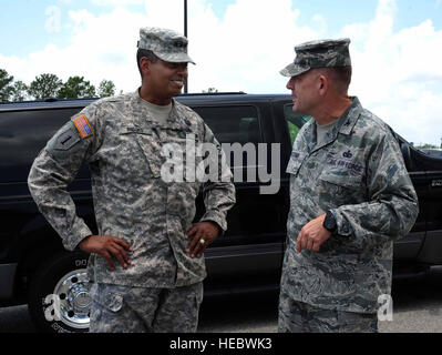 Army Lt. Gen. Vincent Brooks, Third Army commanding general, is greeted by Col. Richard McComb, Joint Base Charleston - Stock Photo