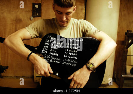 U.S. Army Staff Sgt. Aaron Hignight, a native of Ft. Smith, Ark., poses with his guitar marked with fellow U.S. - Stock Photo
