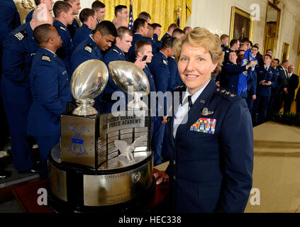 Lt. Gen. Michelle D. Johnson, superintendent, U.S. Air Force Academy, in Colorado Springs, Colo., stands with the - Stock Photo