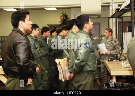 DAEGU AIR BASE, Republic of Korea -- Tech. Sgt. Alicia Hinton, a weather specialist from the 353 Special Operations - Stock Photo
