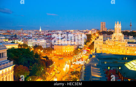 Panoramic view of Madrid at twilight. Spain - Stock Photo