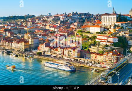 Porto Old Town cityscape in the bright sunny day. Portugal - Stock Photo
