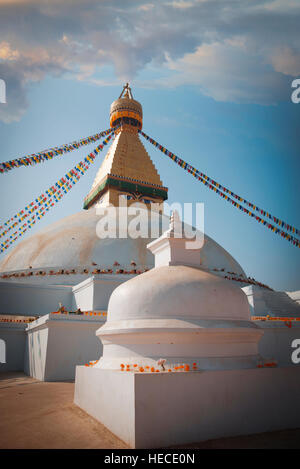 Evening view of Bodhnath stupa - Kathmandu - Nepal - Stock Photo