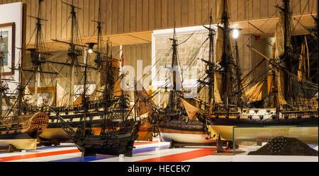 Unique scale models of old sailing ships at MAS / Museum aan de Stroom, Antwerp, Belgium - Stock Photo