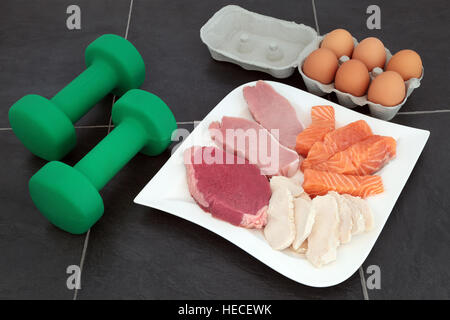 Food with protein, meat, fish, eggs and green beans Stock