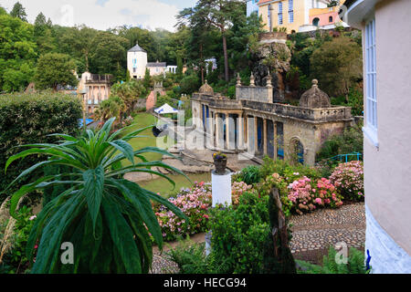 View over the Bristol colonnade and piazza in Portmeirion village, North Wales - Stock Photo