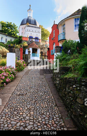 View up a cobbled street in the Italianate village of Portmeirion, North Wales - Stock Photo