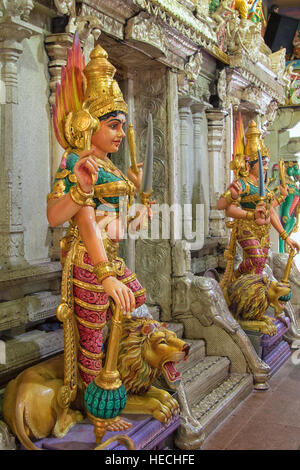 Sri Veeramakaliamman hindu temple, Little India, Singapore - Stock Photo