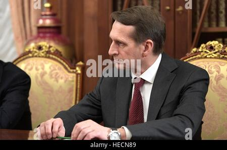 Moscow, Russia. 19th Dec, 2016. Director of the Foreign Intelligence Service Sergei Naryshkin during an emergency - Stock Photo
