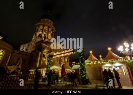 Berlin, Germany, 19th December, 2016. Weihnachtszauber Market at the Gendarmenmarkt. Christmas market in central - Stock Photo