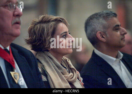 Southwark Cathedral, London, UK. 19th Dec 2016. The Mayor of London, Sadiq Khan and his wife Saadiya Khan attends - Stock Photo