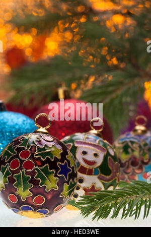 Christmas baubles and decorations - Stock Photo