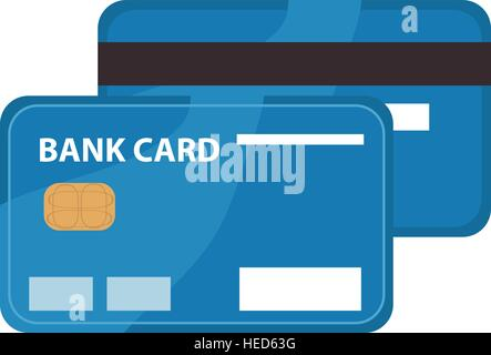 Credit card icon, flat design. Bank card isolated on white background. Vector illustration, clip art - Stock Photo