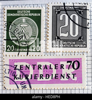 East German (DDR) postage stamps - Stock Photo