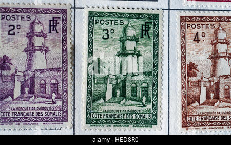 French colonial Africa postage stamps from Somalia - Stock Photo
