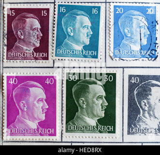 German postage stamps showing a portrait of Adolf Hitler - Stock Photo
