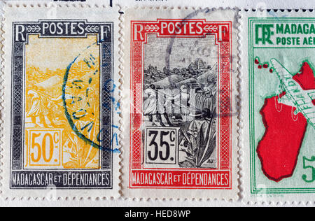 French colonial Africa postage stamps from Madagascar - Stock Photo