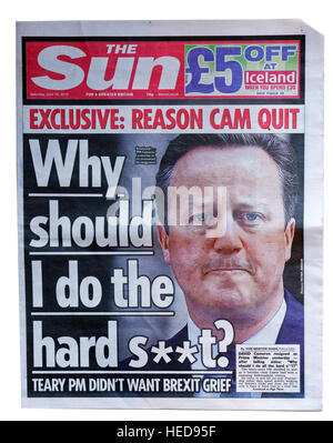 The Sun newspaper of 25 June 2016 announcing the resignation of UK Prime Minister David Cameron after the Brexit - Stock Photo