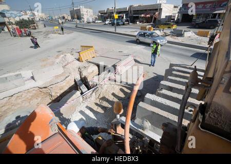 Urban waterline construction in Zarqa, Jordan. - Stock Photo