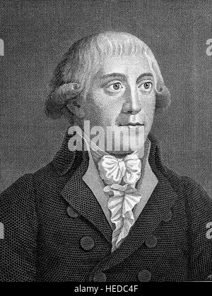 Gottfried August Buerger, 1747-1794, a German poet, from a woodcut of 1880, digital improved - Stock Photo