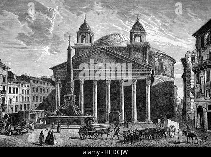 The Pantheon is a former Roman temple, now a church, in Rome, Italy, Das Pantheon des Agrippa, from a woodcut of - Stock Photo
