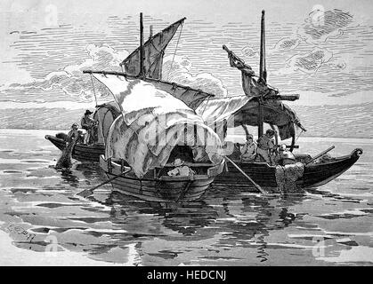 Fishing boats or Fischerbarken on Lake Maggiore, Italy, from a woodcut of 1880, digital improved - Stock Photo