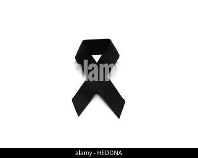 Black Ribbon For Mourning Isolated On White Background Stock Photo