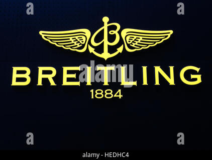 Closeup of the Breitling logo at the exterior of their store in Manhattan. - Stock Photo