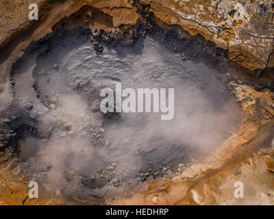 Mud pots at Namaskard Geothermal area in Northern Iceland. Drone photography - Stock Photo