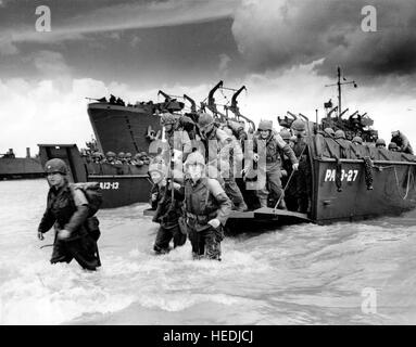 Normandy, France, June 6, 1944. D-Day, the Allied soldiers disembark from transport ships, World War II - Stock Photo