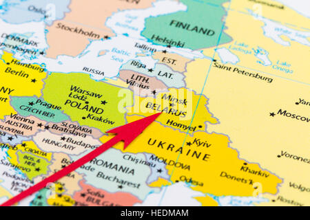 Red arrow pointing Belarus on the map of Europe continent - Stock Photo