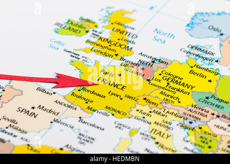 Map of france on political globe with embedded flags 3d stock photo red arrow pointing france on the map of europe continent stock photo gumiabroncs Gallery