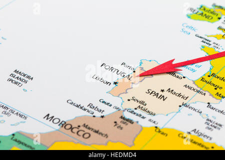 Closeup Map Of The Country Portugal Located In Europe Stock Photo - Portugal on map