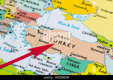Red arrow pointing Turkey on the map of Europe continent Stock Photo