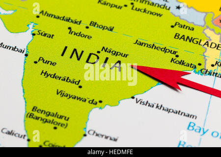 Closeup map of the country India located in south east Asia Stock