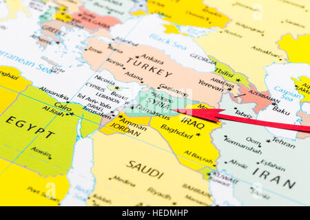 red arrow pointing syria on the map of asia continent stock photo